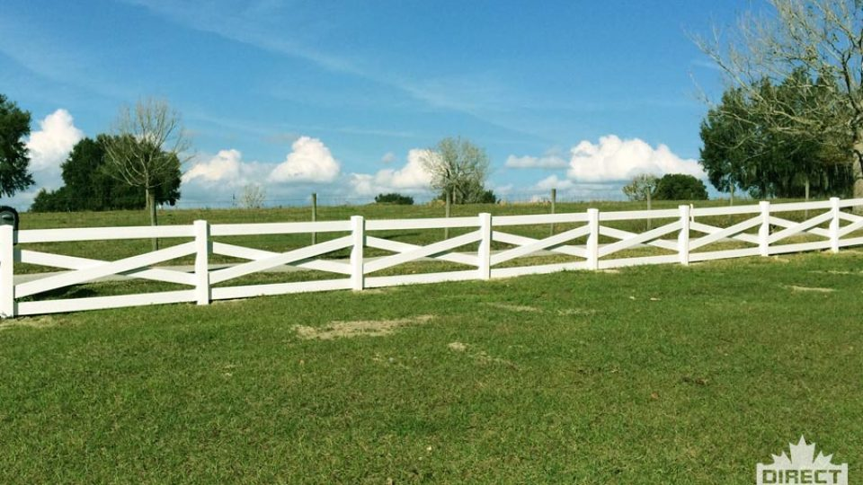 Crossbuck PVC fence for acreages by Calgary