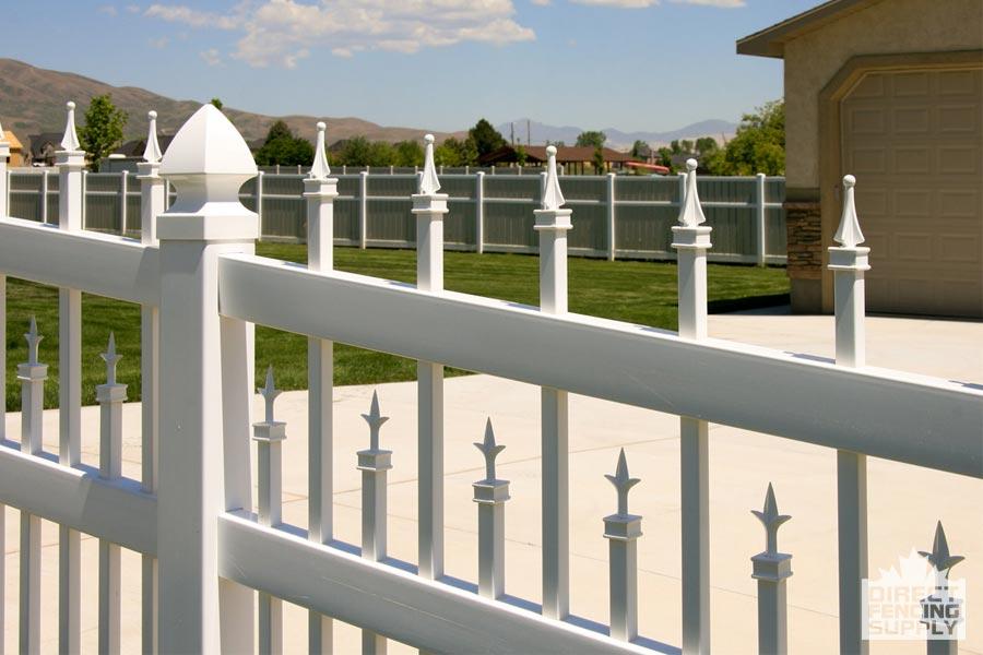 Detailed decorative ornamental vinyl fence