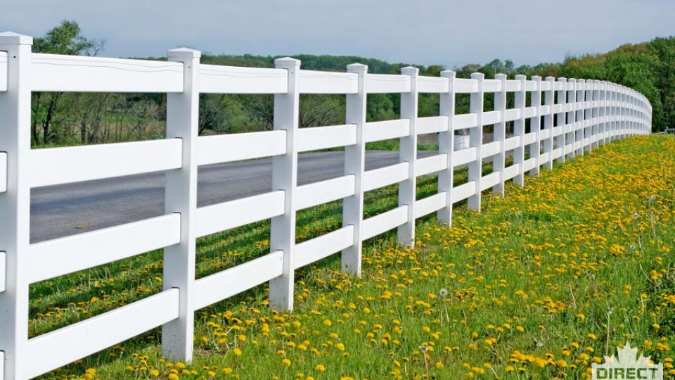 Four rail ranch-style vinyl fence from wholesale supplier
