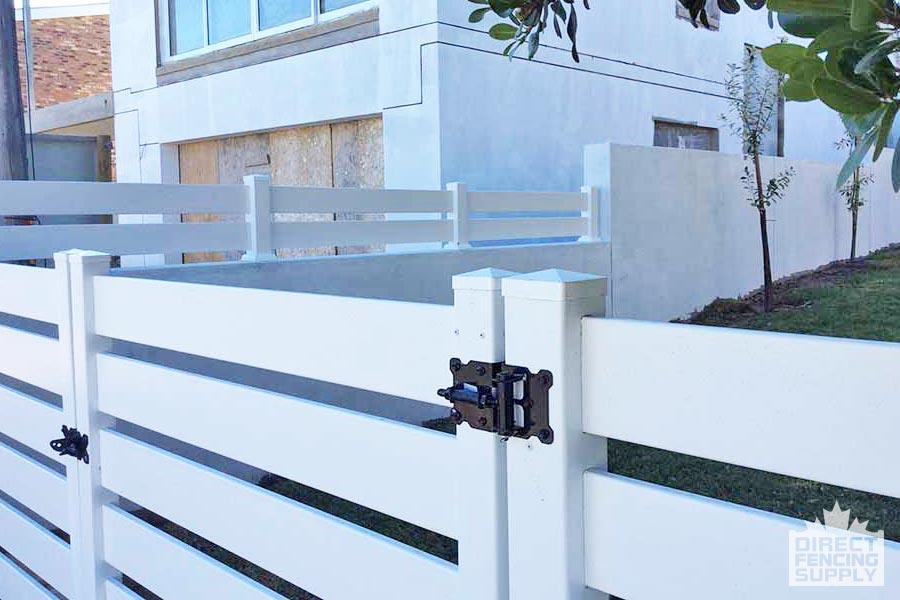 Horizontal slat plastic gate with adjustable hinge