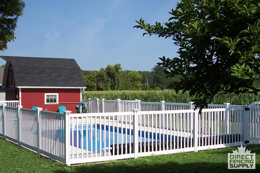 Narrow-picket white plastic pool fence installation Victoria
