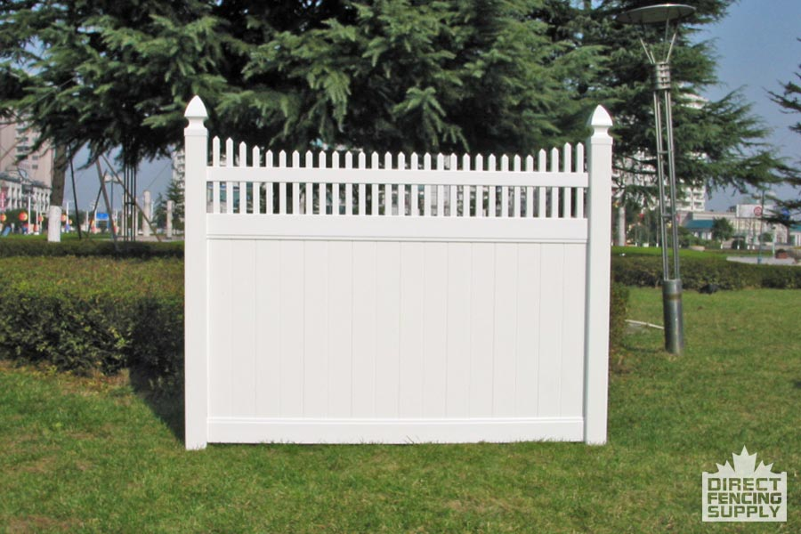 Privacy picket top PVC fence in Calgary