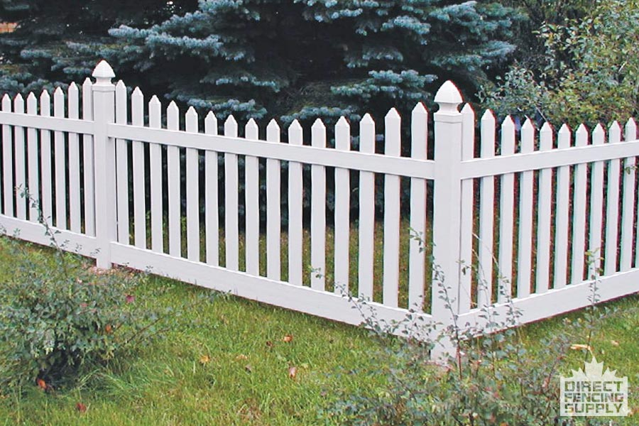 Scalloped picket white plastic fence Abbotsford