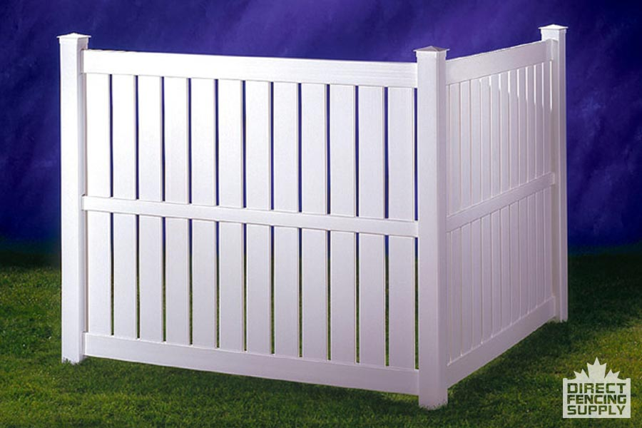 Semi-privacy white plastic fencing with spaces