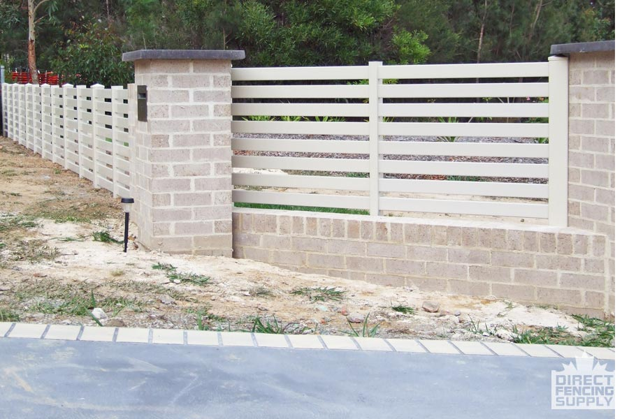 Semiprivacy PVC fencing with wide slats