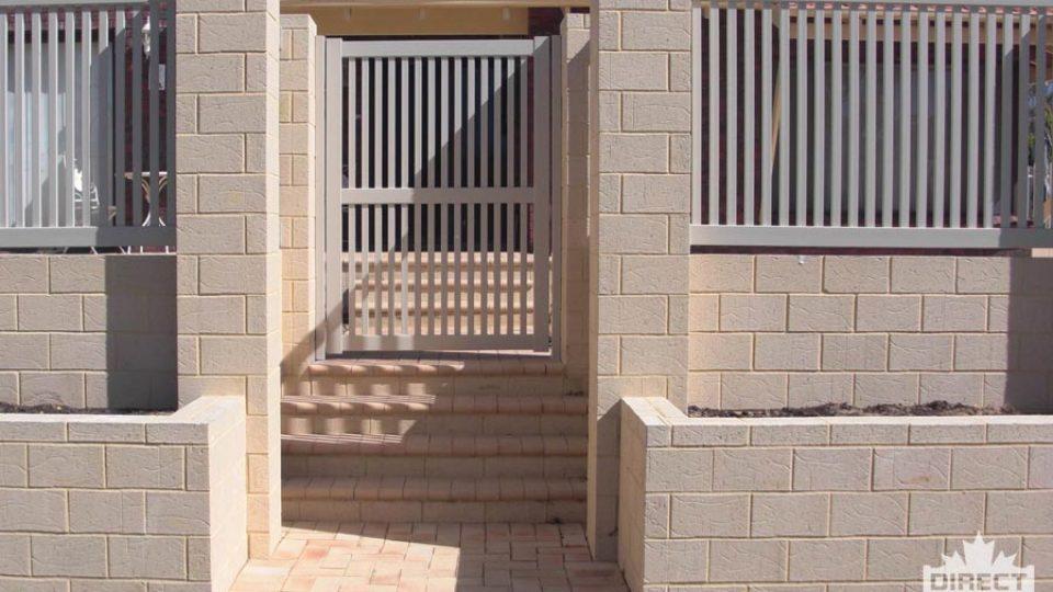 Tan coloured PVC pool fence