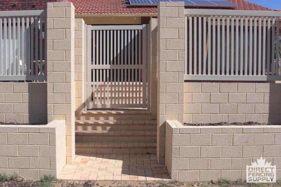 Tan coloured PVC pool fence