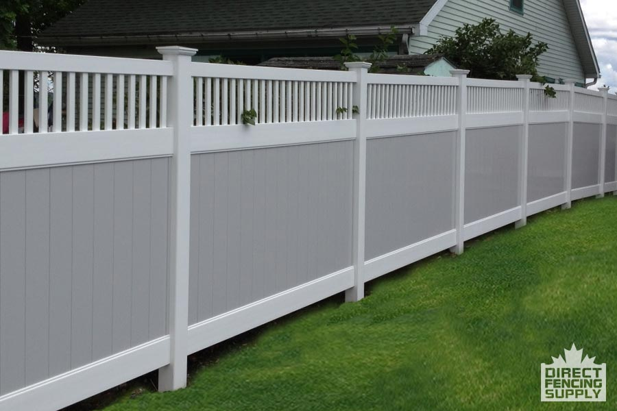 Vinyl fence with ladder insert and gray panels