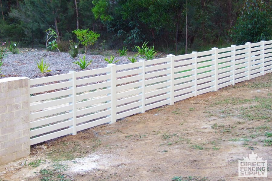 Vinyl rail fence with horizontal boards