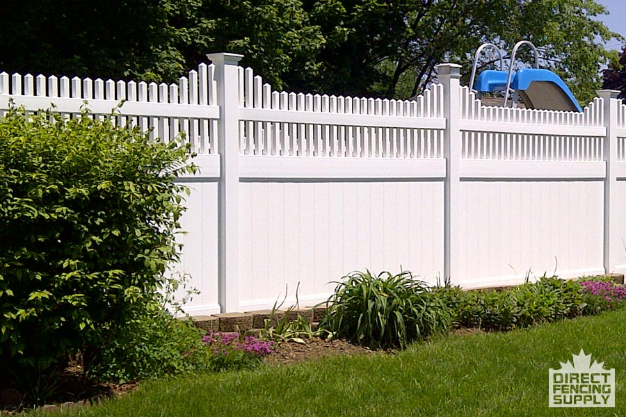 Vinyl white fence with pickets on top