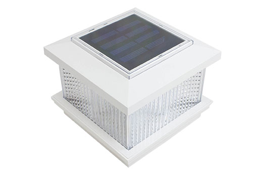 Vinyl fence solar light post cap in white