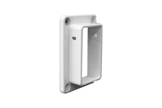 Flat mount rail connector for vinyl fence post