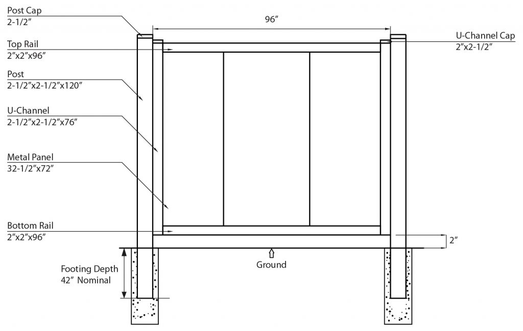 steel fence components illustration