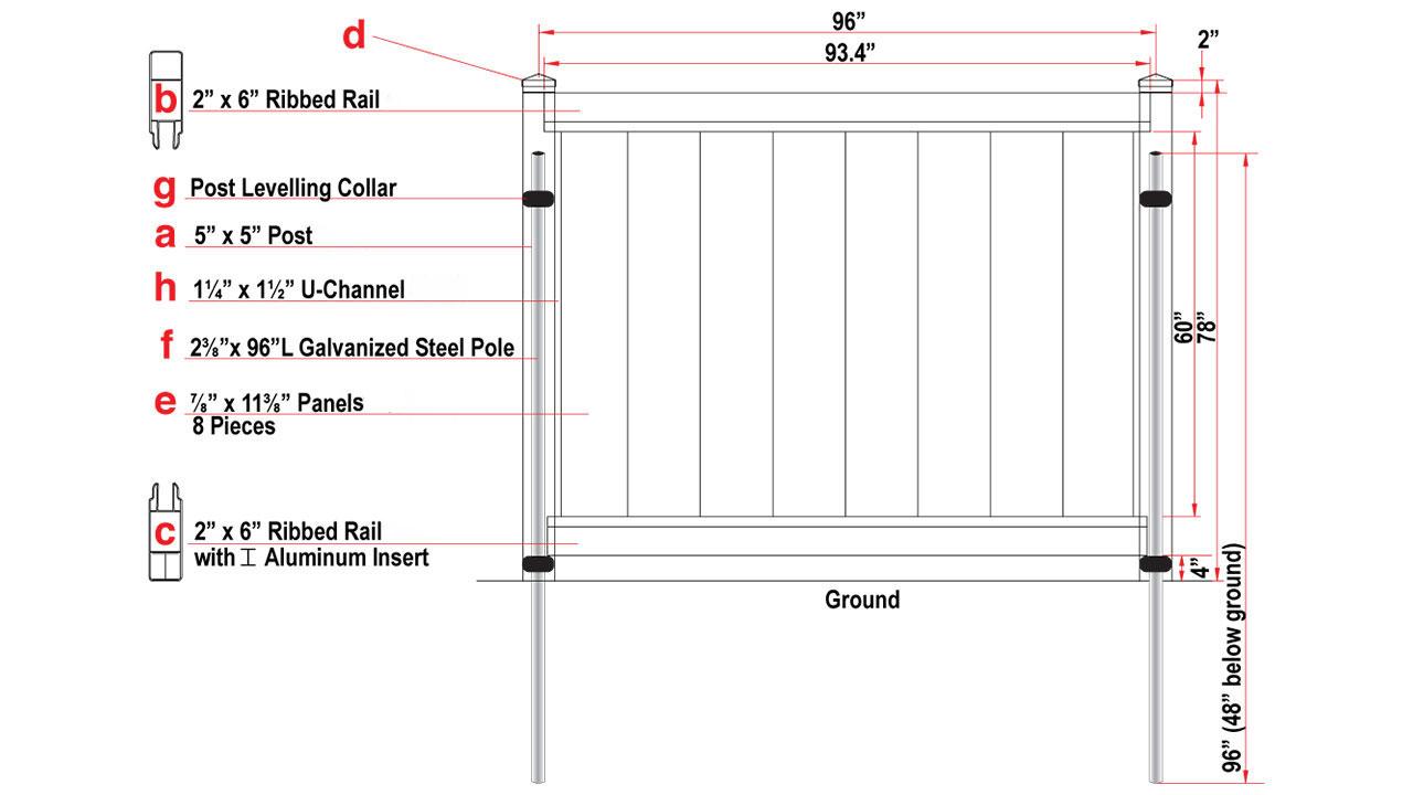 8ft vinyl fence installation component chart